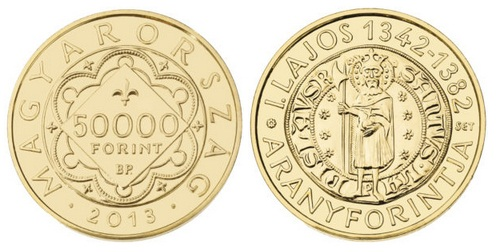 I. Lajos (1342-1382) aranyforintja - Aranyérme